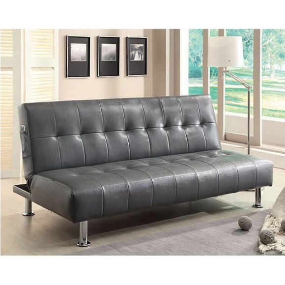 Bulle Leatherette Futon in Grey