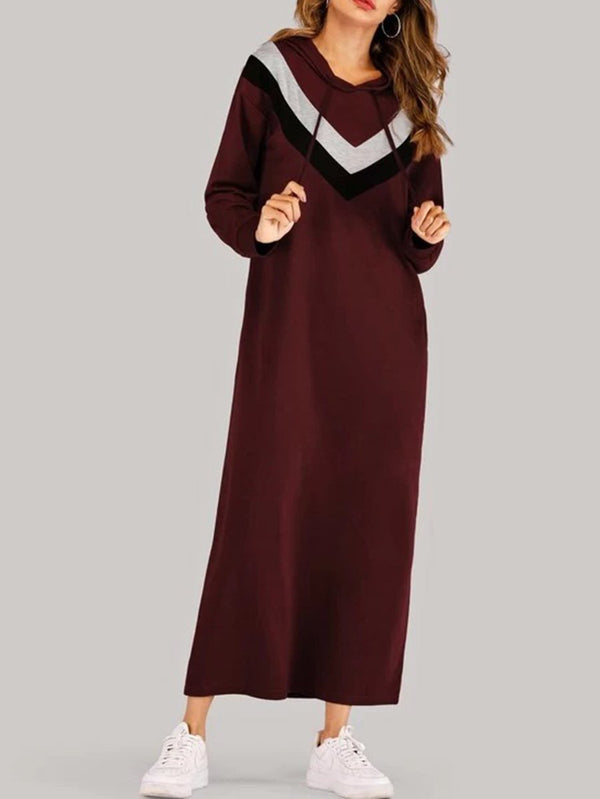 Cut & Sew Maxi Hooded Sweatshirt Dress