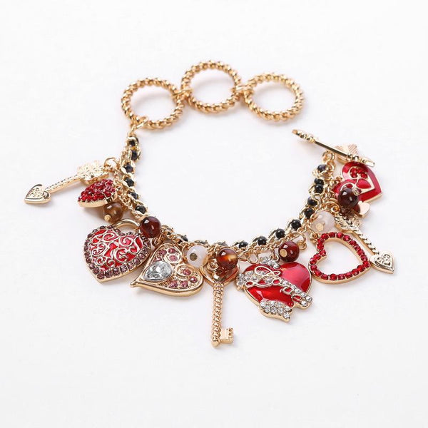 Handmade Christmas Bracelet Heart Shaped Beautiful Pattern Bracelet
