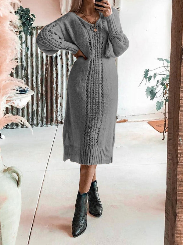 Plain Cut-out Wool Casual Dresses