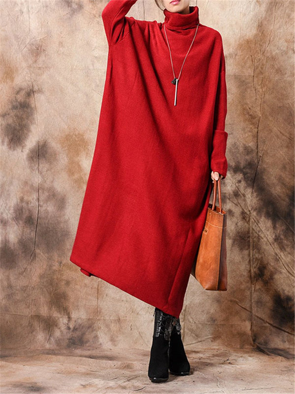Fashion Stand High Collar Solid Color Loose Knit Dresses