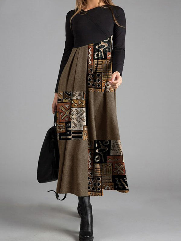 Vintage Elegant Print Colorblock Long Sleeve Dress