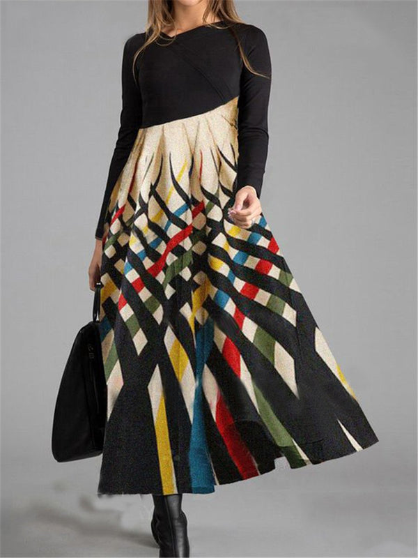 Vintage Elegant Casual Loose Long Sleeve Colorblock Print Maxi Dress
