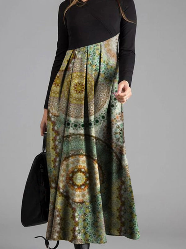 Printed Patchwork Long Sleeve Dress