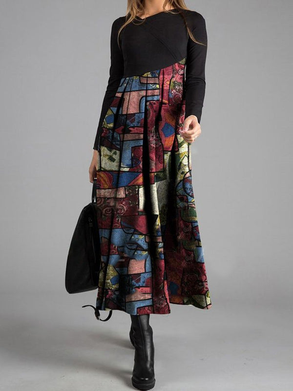 Printed Patchwork Casual Dress
