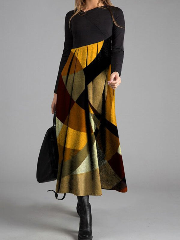 Black Elegant Colorblock Geometric Print Long Sleeve Dress