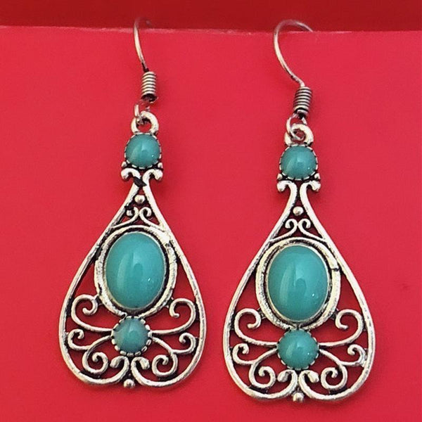 Retro Openwork Turquoise Earrings Dripping Pattern Earring
