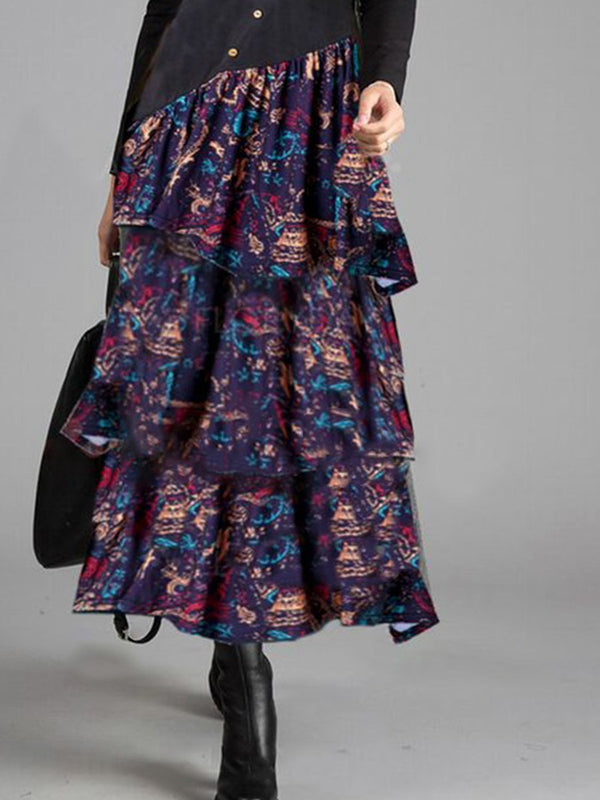 Floral Casual Dresses Long Sleeve Mid-Length