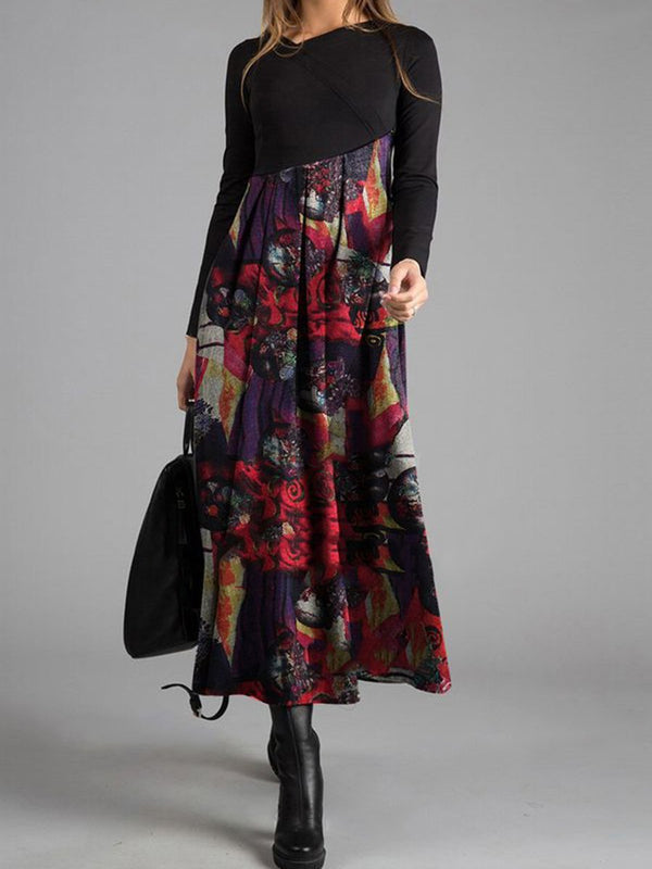 Elegant Vintage Long Sleeve Colorblock Printed Maxi Dress