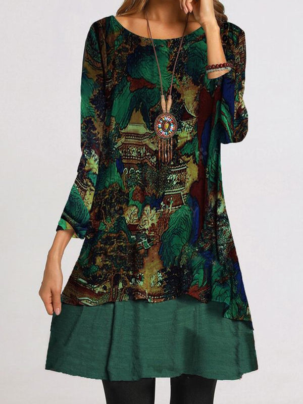 Green Long Dress Print Patchwork Dress