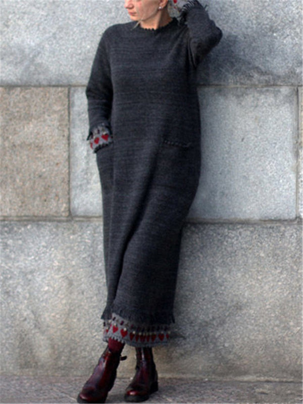 Grey autumn and winter fashion loose casual wool dress