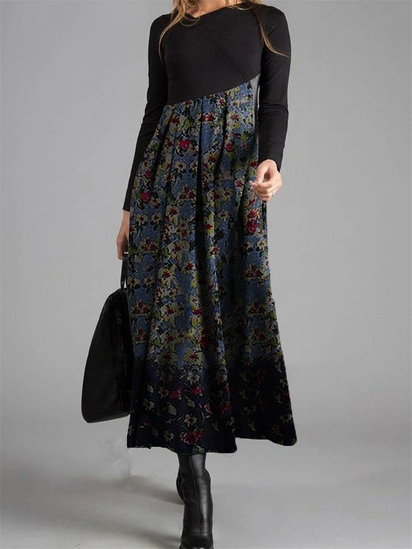 Vintage Elegant Floral Long Sleeve Dress