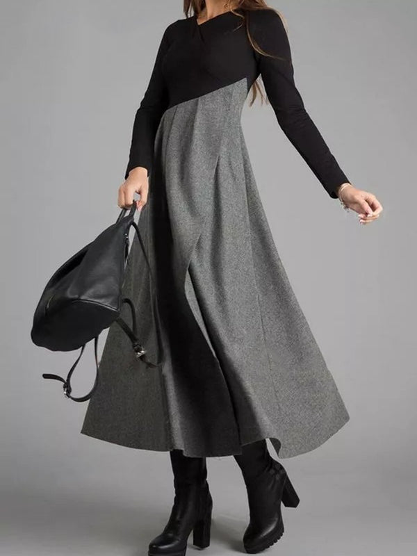Grey Colorblock Long Sleeve Dress Elegant