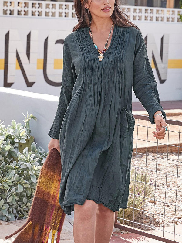 Solid Color Loose Long Sleeve Dress