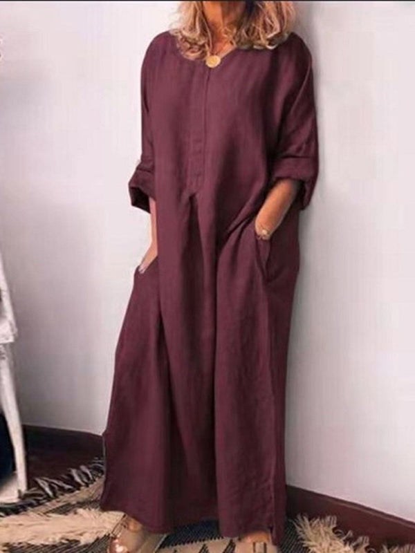 Cotton and Linen Solid Long Loose Long-Sleeved Dress