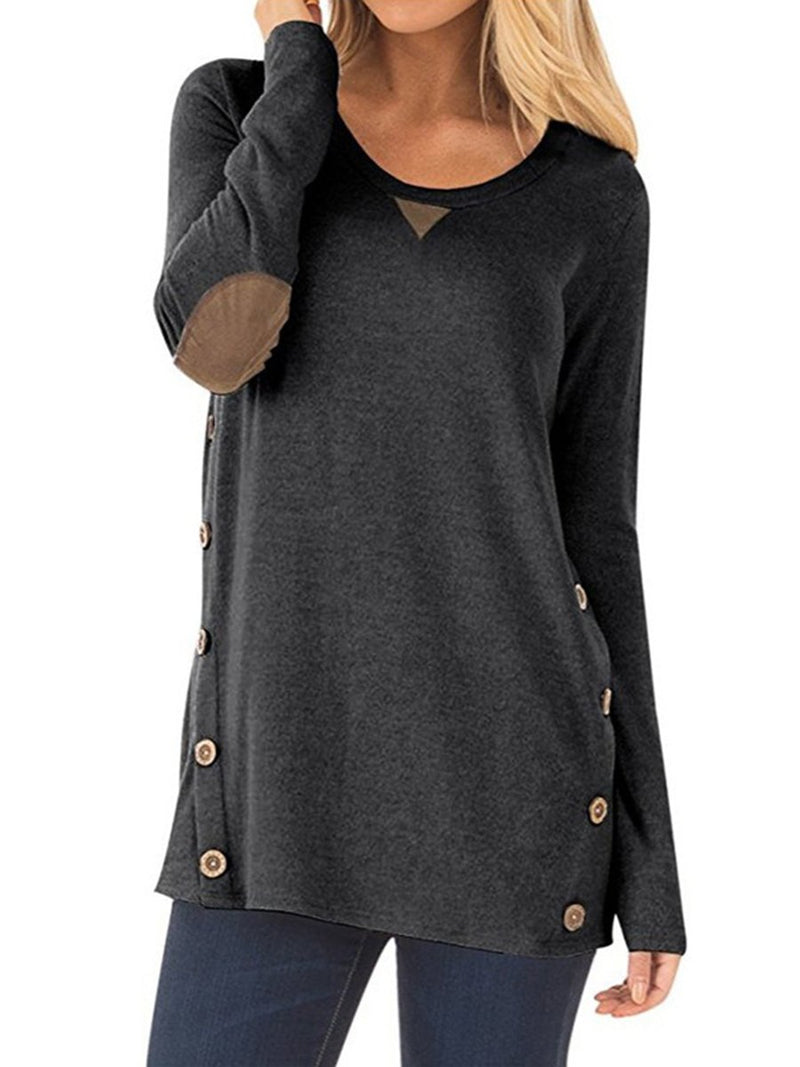 Autumn Round Neck Long Sleeve Button Patch T-Shirt