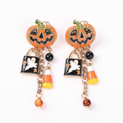 Creative Pumpkin-studded Dripping Tassel Earrings