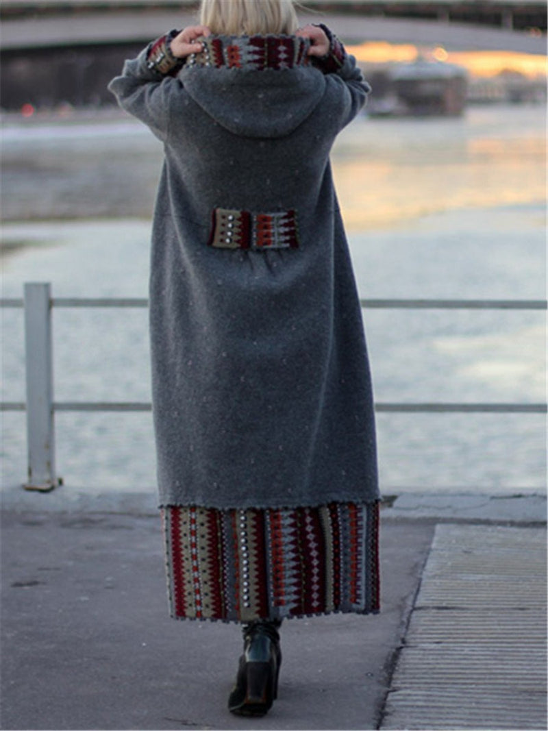 Autumn And Winter Fashion Loose Casual Hooded Long Coat Skirt