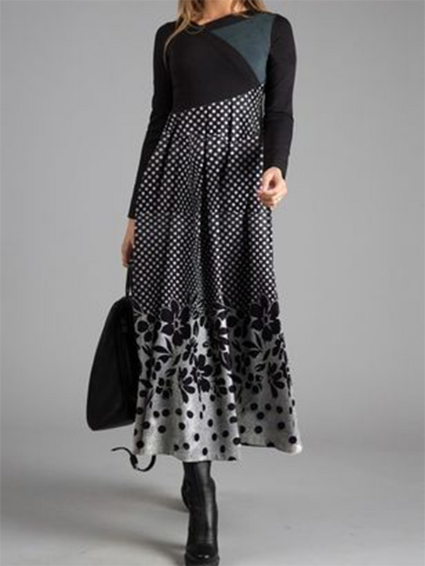 Printed Casual Long Sleeve Dress