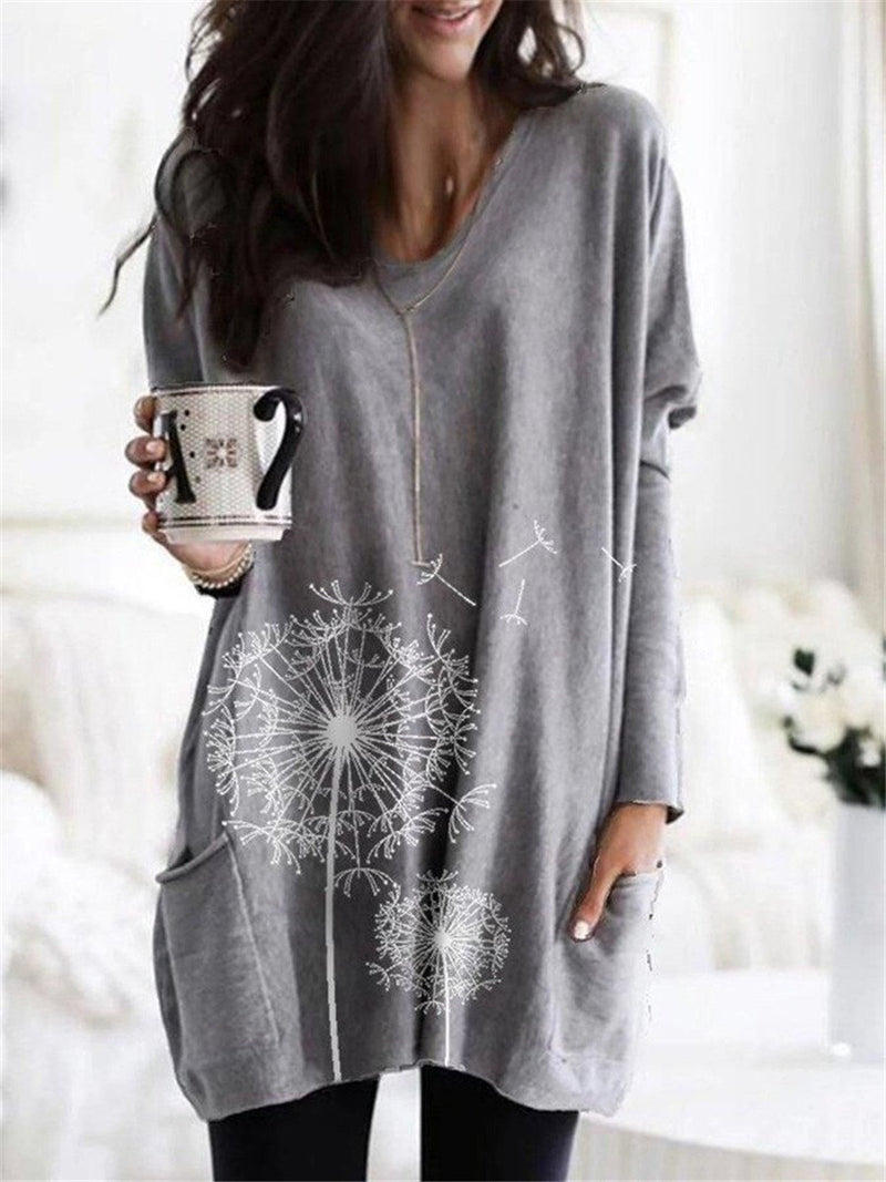Casual loose round neck print long sleeve shirt T-shirt