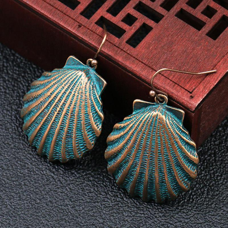 Women Vintage Alloy Seashell Earrings