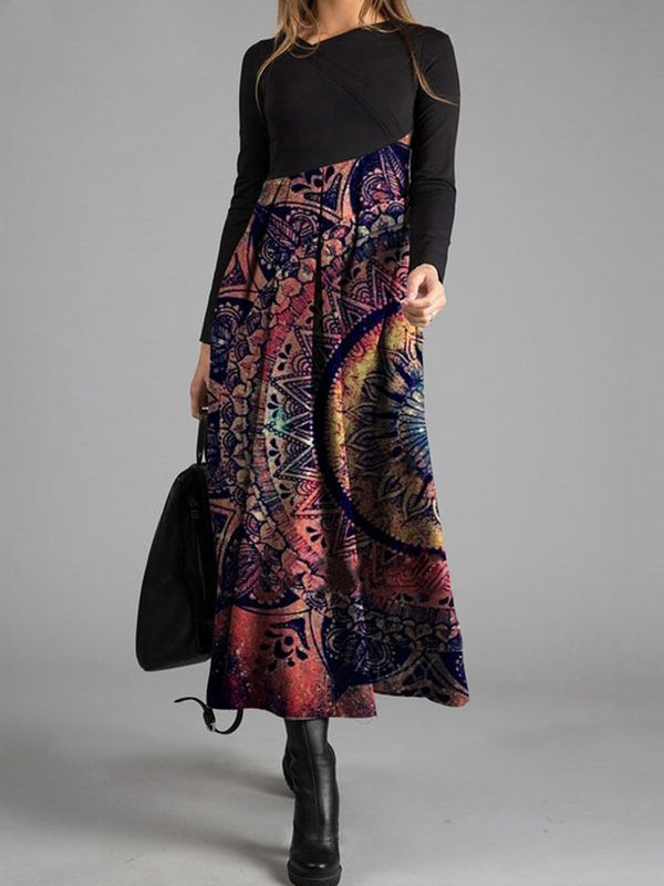 Black Long Sleeve Casual Floral Print Maxi Dress