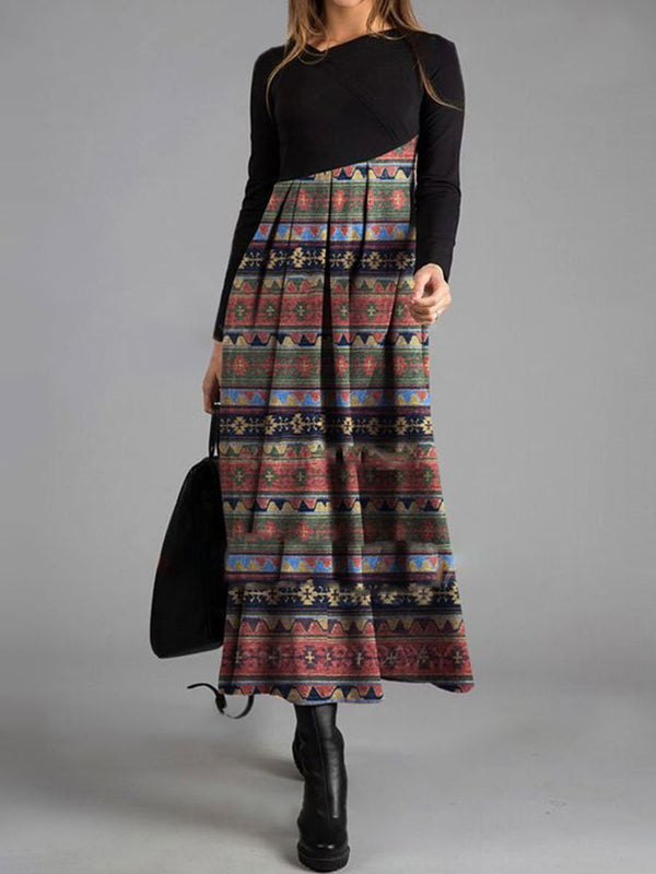 Elegant Long Sleeve Print Colorblock Retro Maxi Dress