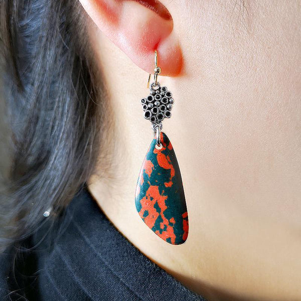 Fashion Vintage Triangle Drop Shaped Colorful Earrings