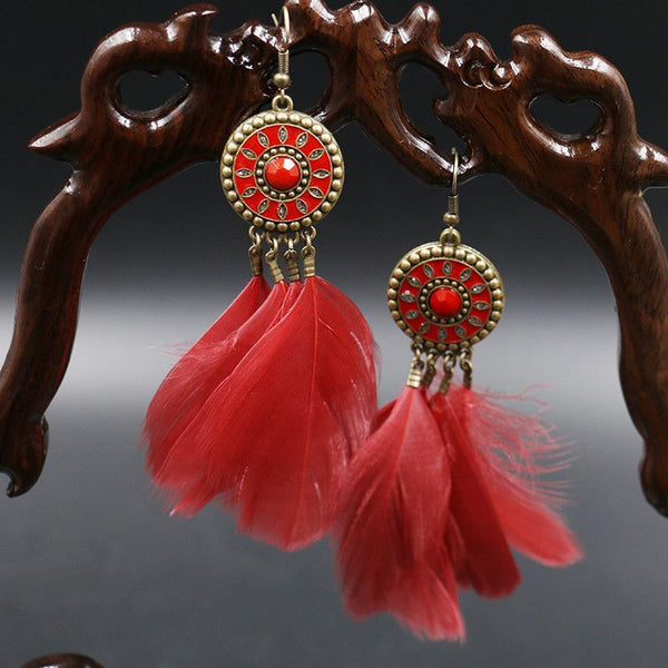 Vintage Bohemian Feather Gem Chic Earrings