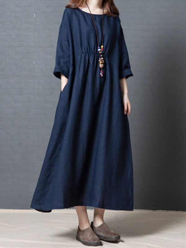 Linen Loose Fashion Solid Color Pleated Long Sleeve Dress
