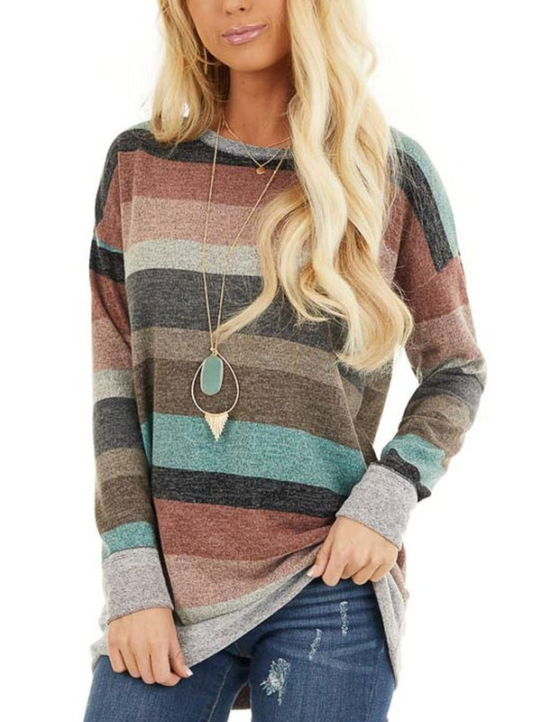 Taupe Blush Striped Long Sleeve Top