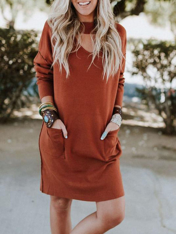 Round Neck Long Sleeve Loose Dress