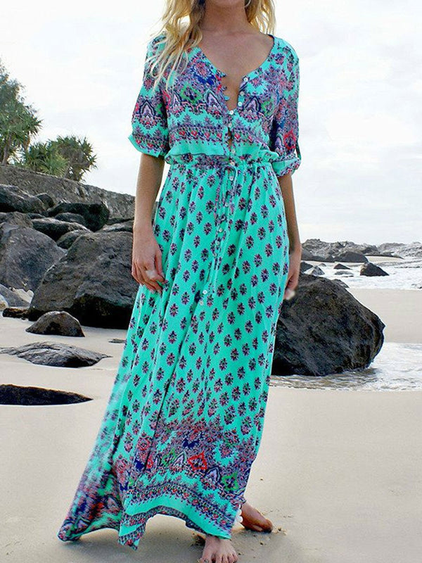 Bohemian Vintage Loose Casual Print Button Maxi Dress