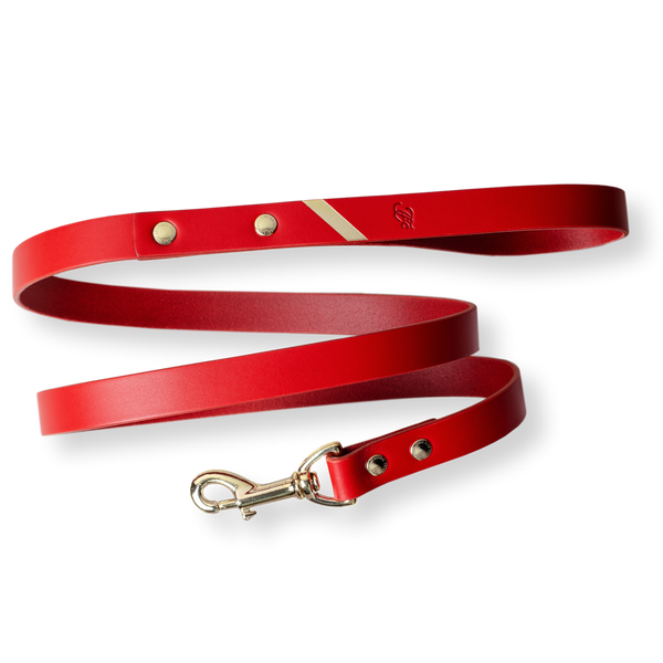 Loyal Me Leather Leash - Fiery Red
