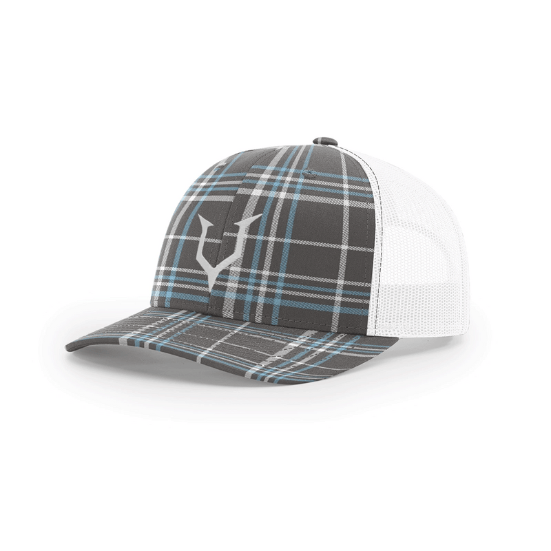 HEADCASE -  CLASSIC TRUCKER SNAPBACK - PLAID WHITE/BLUE