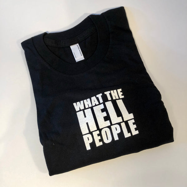 What The Hell People Long Sleeve Tee, Black, Small, Womens