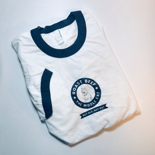 Roast Beef Ringer Tee, White/Navy Small