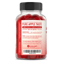 Side View of NutraChamps Apple Cider Vinegar Gummmies Bottle with Details and Suggested Use Information