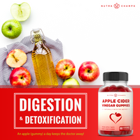 "Graphic of apples on a counter with the NutraChamps Apple Cider Vinegar Gummies Supplement Bottle in the bottom right Corner and a ""Digestion and Detoxification"" Text Box"