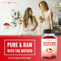 "Graphic of a Mother and Daughter Eating apples with the NutraChamps Apple Cider Vinegar Gummies Supplement Bottle in the bottom right Corner and a ""Pure and Raw with Mother"" Text Box"