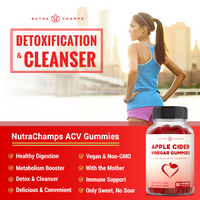 Graphic of a Female Runner outside with the NutraChamps Apple Cider Vinegar Gummies Supplement Bottle in the bottom right Corner beside listed benefits of the NutraChamps Apple Cider Vinegar Gummies Supplement Bottle