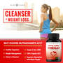 Graphic of a Female Runner outside with the NutraChamps Apple Cider Vinegar Supplement Bottle in the bottom right Corner beside listed benefits of the NutraChamps Apple Cider Vinegar Supplement Bottle