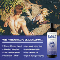 Graphic of a Male and Female Climbing Down Rocks with the NutraChamps Black Seed Oil Supplement Bottle in the bottom right Corner beside listed benefits of the NutraChamps Black Seed Oil Supplement Bottle