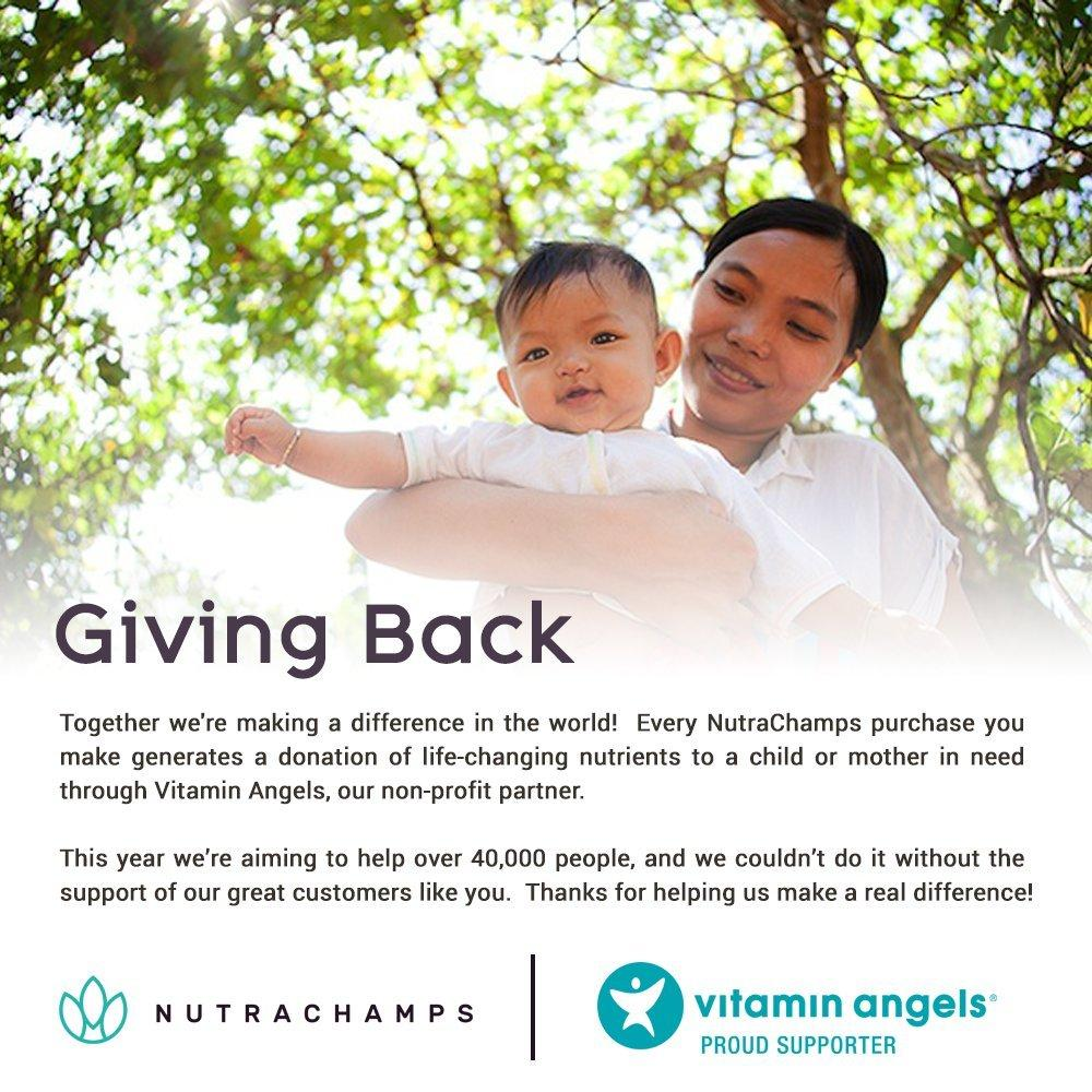 Graphics showing the mission statement of Vitamin Angels charity. NutraChamps is partnered with Vitamin Angels Providing Essential Vitamins to the Under Privileged