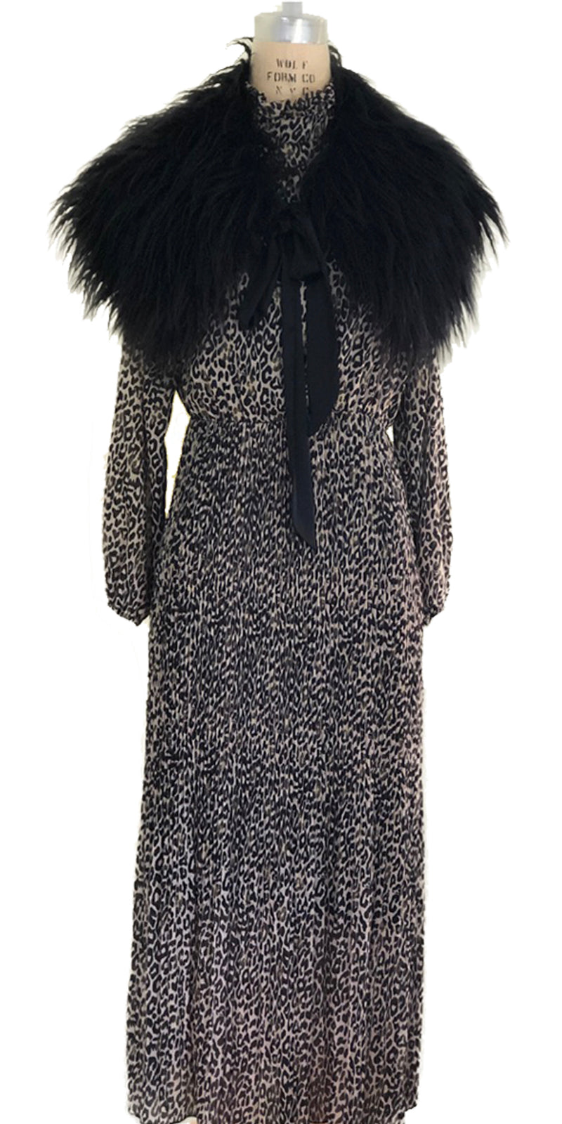 Black Faux Fur Stole