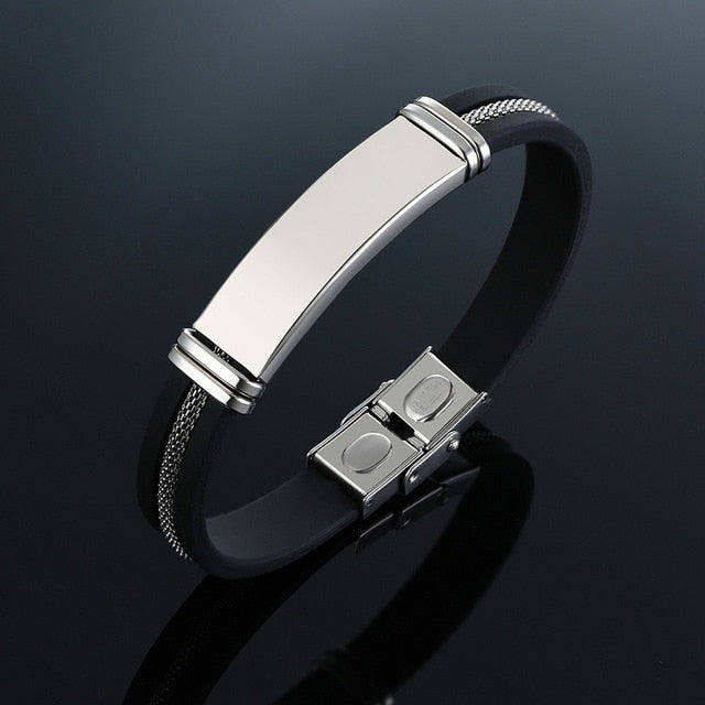 Grooved Sharp Bracelet, Stainless Steel - shadeofaura