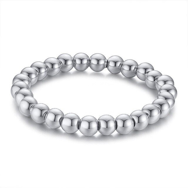 Smooth Stainless Steel Beaded Bracelet - shadeofaura