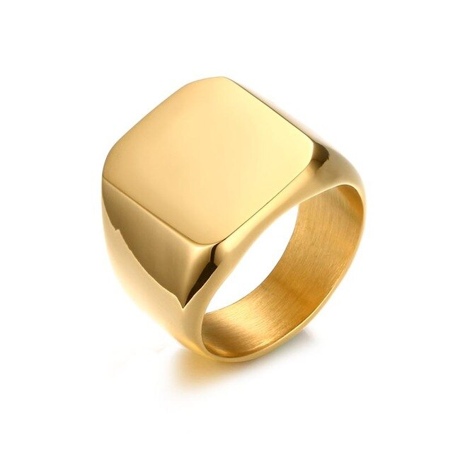 Gold Bold Emblem Ring, Stainless Steel - shadeofaura