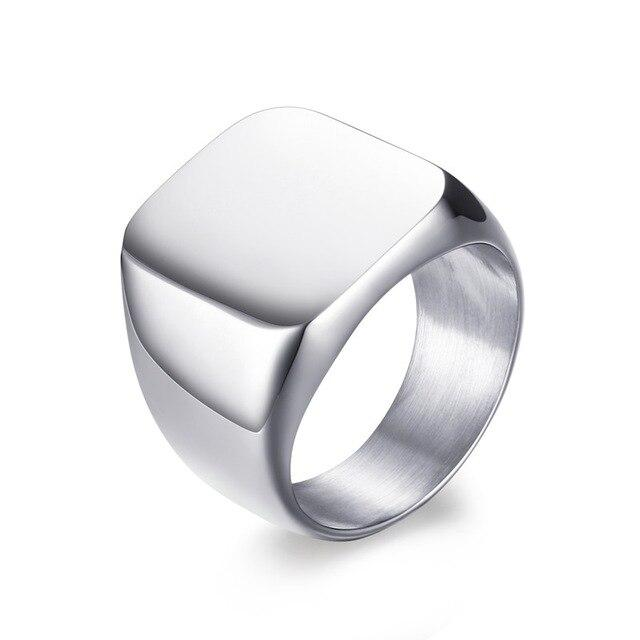 Silver Bold Emblem Ring, Stainless Steel - shadeofaura
