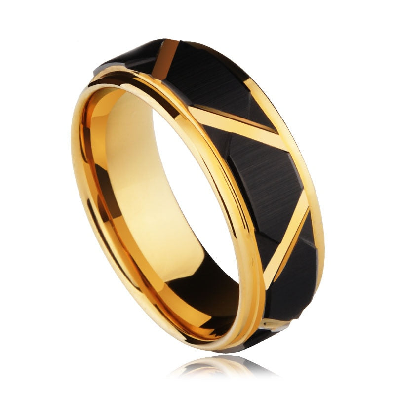 Black and Gold Hex Frame Ring, Stainless Steel - shadeofaura